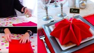 Image illustrant l'article Voici une vidéo pour apprendre à plier vos serviettes en forme de flocon